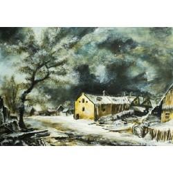 Papier Print - Winterlandschaft van Ruisdael Remake