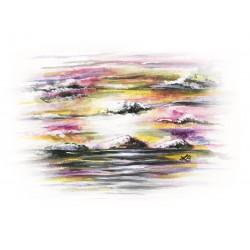 Original Gemälde - Streifiger Sonnenuntergang
