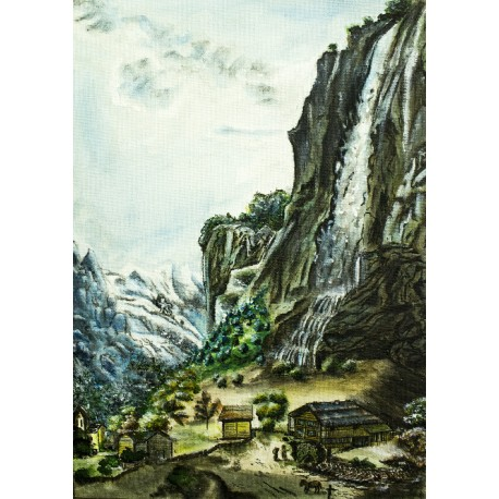 Original Painting - Aberli Water Falls Remake