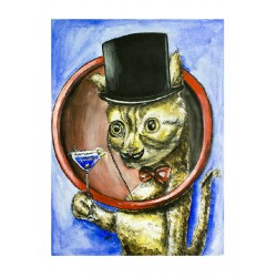 Original Painting - Mister Monsieur Gentleman Cat