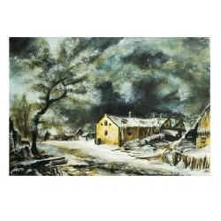 Original Mischtechnik - Winterlandschaft van Ruisdael Remake